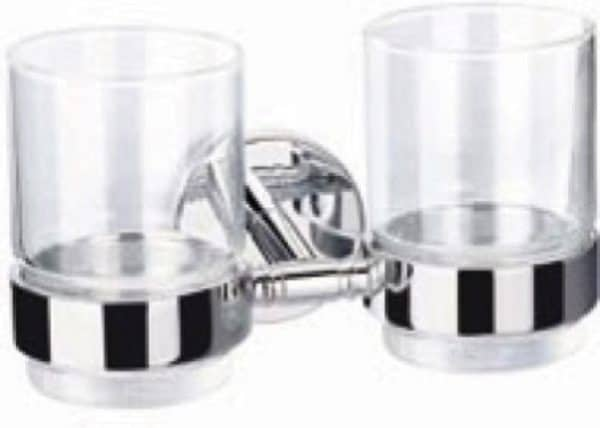| CALIBER brass double tumbler holder with two glasses | Al Wadi Sanitary Wares Company September 2021